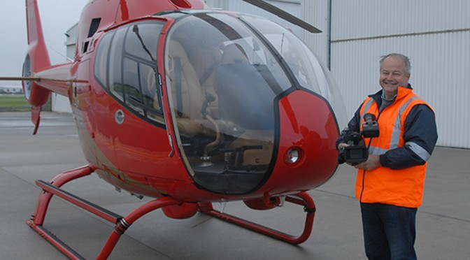 Keith with the Microflite Squirrel helicopter about to do a shoot for Vicroads