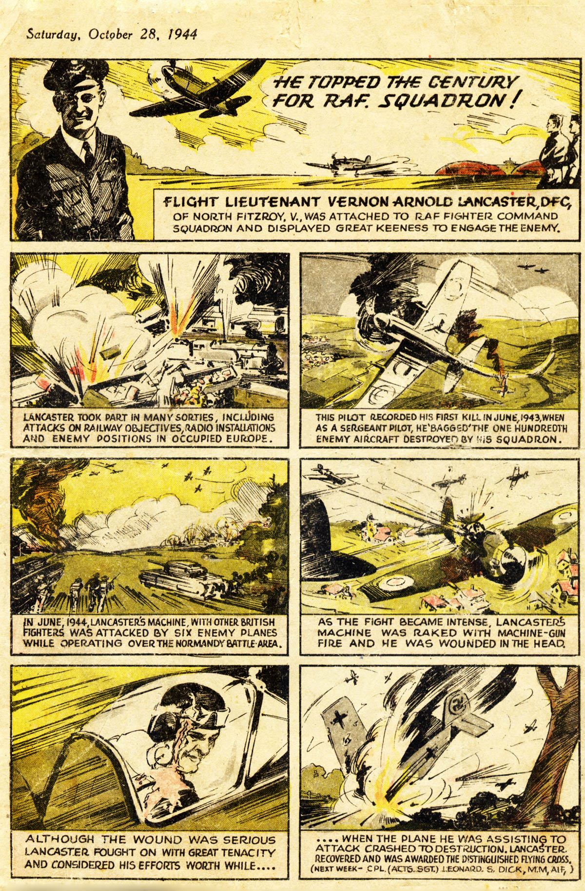 Argus comic strip style article Sat Oct 28th 1944